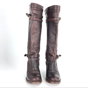 Frye Women's Jane Strappy Brown Leather Boot
